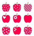 Set of red apples Stylized icons isolated on white vector image