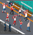 sports fans procession isometric composition vector image