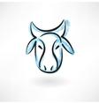 cows head grunge icon vector image vector image