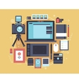 Photographer stuff and elements Flat concept of vector image