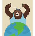 Russian bear threatens peace The globe Traditional vector image