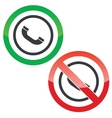 Call permission signs vector image