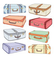cartoon decorative old retro suitcases vector image