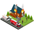 firefighters extinguish fire at house isometric vector image