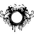 Grunge frame and two skulls vector image