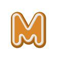 letter m gingerbread peppermint honey-cake font vector image