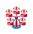 Mini wheel carousel isolated on white vector image