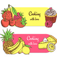 Sketch food banners vector image