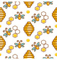 vespiary and bees seamless outline pattern vector image