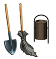 Working tools of janitor vector image