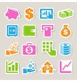 Finance money sticker icon set vector image
