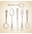 Vintage cutlery hand drawn set vector image