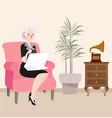 grandma reading newspaper sitting in sofa while vector image