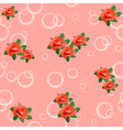 pink seamless texture with roses and circles vector image vector image