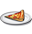 slice of salami pizza vector image vector image