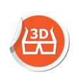 cinema glasses 3d icon orange sticker vector image