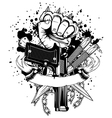 hand with knuckledusters pistols knifes vector image vector image