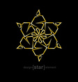Abstract gold flower on black background vector image