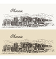 Phoenix skyline hand drawn vector image