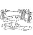 cartoon frog on lily pad at lake coloring page vec vector image
