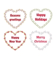 Christmas and New Year set of wreath in a vector image