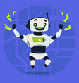 cute robot happy smiling full battery charge vector image