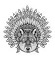 Hand Drawn Zentangle Wolf in Feathered War bonnet vector image