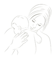 Mother and newborn sketch vector image