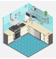 Kitchen Interior Isometric Template vector image