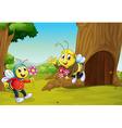 The two bees near a treehouse vector image
