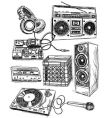 sketchy music elements vector image