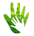 Green hand with green geometric over white vector image