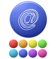 Small buttons and a big button with the at sign vector image vector image