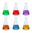 Set of colourful flasks vector image