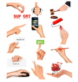Hand holding items vector image