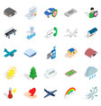 Airborne icons set isometric style vector image