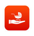baby pram protection icon digital red vector image