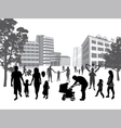 families walking in the town vector image
