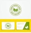 Farm fresh shop logo set with two green leaves vector image