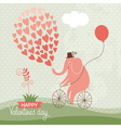 Cute elephant on a bike Valentine card vector image
