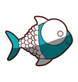 silhouette color blue of fish with big eye vector image