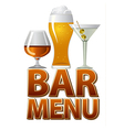 bar menu design vector image vector image
