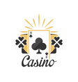 casino logo vintage gambling badge or emblem with vector image