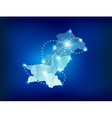 Pakistan country map polygonal with spot lights vector image