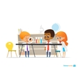 School children in lab clothing and safety glasses vector image