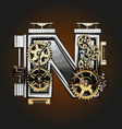 n letter with gears vector image