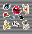 cartoon quirky colorful stickers set vector image