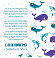cute ocean animals poster design vector image