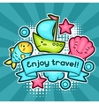 Cute travel background with kawaii doodles Summer vector image