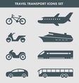 Travel transport icons set vector image